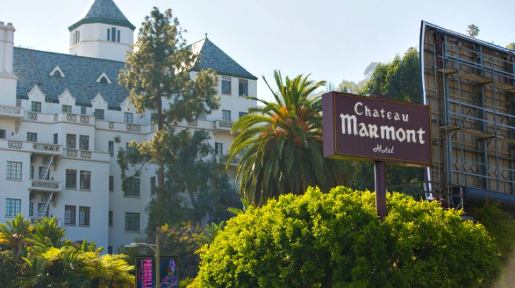 Exterior of the landmark Hollywood hotel, the Chateau Marmont
