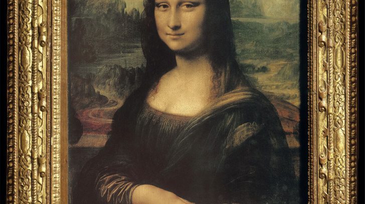 Leonardo da Vinci (1452-1519): Mona Lisa, 1503-6 (with frame) Paris Louvre *** Permission for usage must be provided in writing from Scala.
