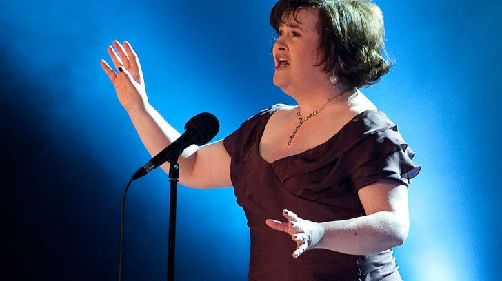 Scottish singer Susan Boyle sings the song 'I Dreamed a Dream' at the Danish relief show 'The Denmark Collection' to raise money for women in Africa and for the victims of the earth quake in Haiti on January 30, 2010 at the Tivoli Concert Hall in Copenhagen. AFP PHOTO / Casper Christoffersen/Scanpix (Photo credit should read Casper Christoffersen/AFP via Getty Images)