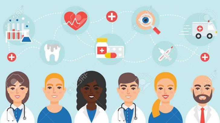Medical community staff doctors nurses vector illustration